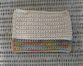 Two Hand Crochet Cotton Washcloths - Variegated Butterscotch and Oatmeal