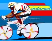 """Cycling Art Illustration Vintage Retro Migual Indurain  (GALLERY) 11X17"""""""