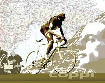"Vintage Cycling Art, Cycling Print, Bike Poster, Tour de France  Map : Fausto Coppi 11X17"""