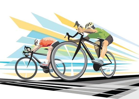 Cycling Original- Modern -Retro-Sport Illustration -Graphic Art Print illustration poster : SPRINT FINISH