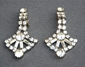 Vintage Circa 1950s Rhinestone Dangling Earrings, Bridal, Wedding, Prom, Formal Jewelry