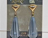 Vintage Earrings, Trifari 80s Peppermint Stripe Drop Earrings, on original card, Made in the USA