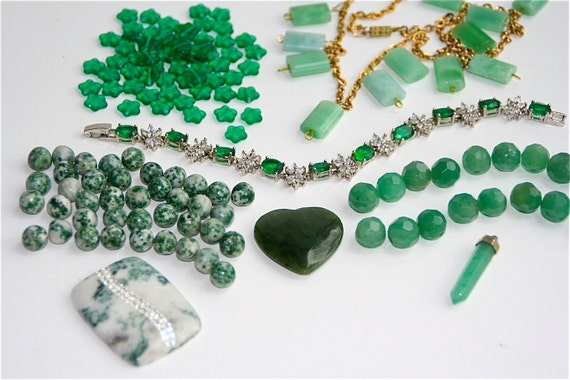 SALE, Green Jewelry Lot, Craft Supplies,  Mix of green destash and salvaged beads, wearable and broken jewelry, Lot 24