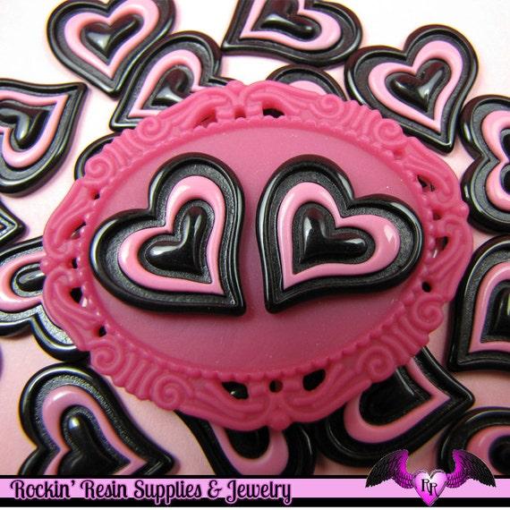 5 Pcs Black and Pink Triple Heart Decoden Kawaii Flatback Resin Cabochons 20x19mm