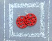 Geometric Red Laser Cut Wool Earrings