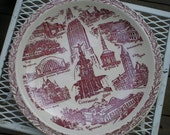 Unique Cincinnati Ohio Souvenir Collectible Transfer Ware Plate