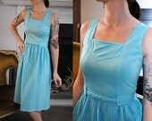 Vintage blue dress 1980s with pleats small boho braid belt S XS