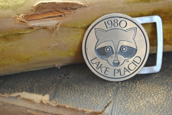 Olympics Belt Buckle - Vintage 1980 Lake Placid Men's with Raccoon
