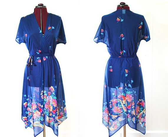 Vintage Blue Dress Sheer with Floral Print 1970s Wrap coverup Medium 6 8