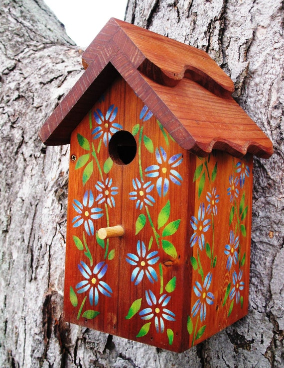 Outdoor wood Birdhouse/Nesting Box - Blue Flowers - Made in  USA fully functional