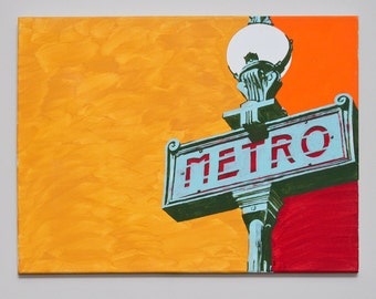 Paris Metro Sign - Original Acrylic Painting on Canvas - 2011
