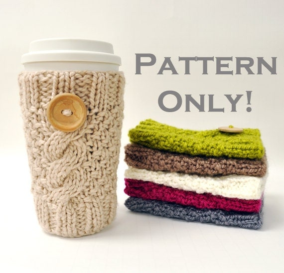 Knitted Cable Travel Mug Cozy Pattern