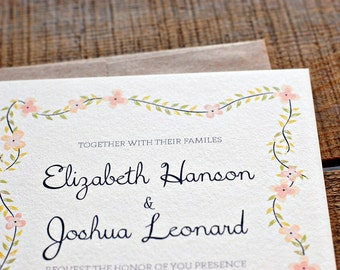 Flowering Vines Wedding Invitation Deposit