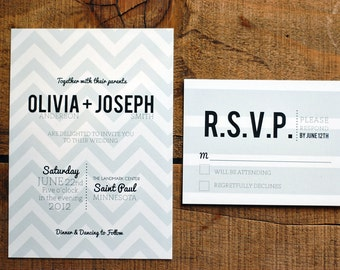 Chevron Wedding Invitation Deposit