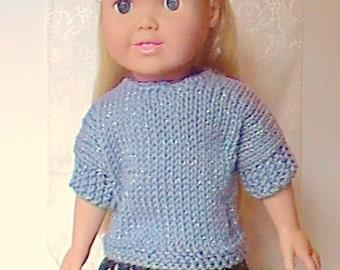 "011 Blue Sparkle Knit Pattern for 18"" doll"