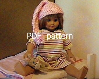016 Crocheted Nightcap pattern for American Girl doll