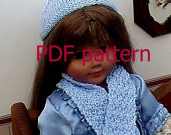 """020 Knit Pattern for 18"""" doll beanie and matching scarf"""