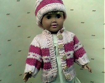 "015 Knit Pattern for 18"" doll pink stripe cardigan"