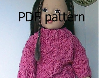 """022 Knit Pattern for 18"""" doll raspberry pink diamond pullover"""