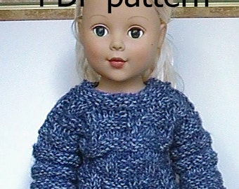 "023 Knit Pattern for 18"" doll blue denim pullover"