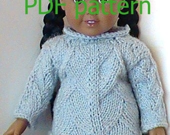 """027 Knit Pattern for 18"""" doll pale denim feathered pullover"""