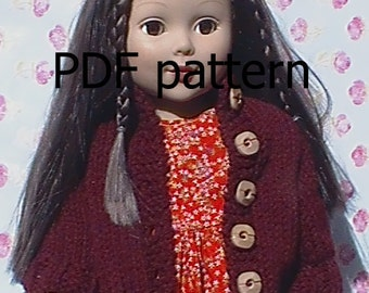 """005 Knit Pattern for AG18"""" doll solid color cardigan"""