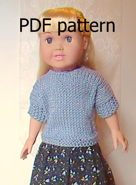"011 Blue Sparkle Knit Pattern for 18"" doll"