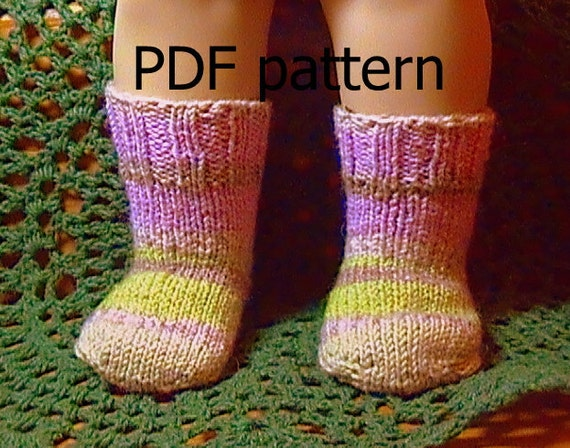 014 Knit socks from the toe up pattern for American Girl doll