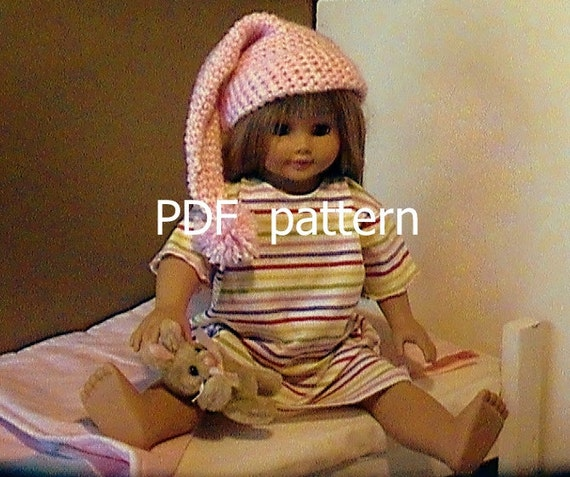 016 Crocheted Nightcap pattern for American Girl doll