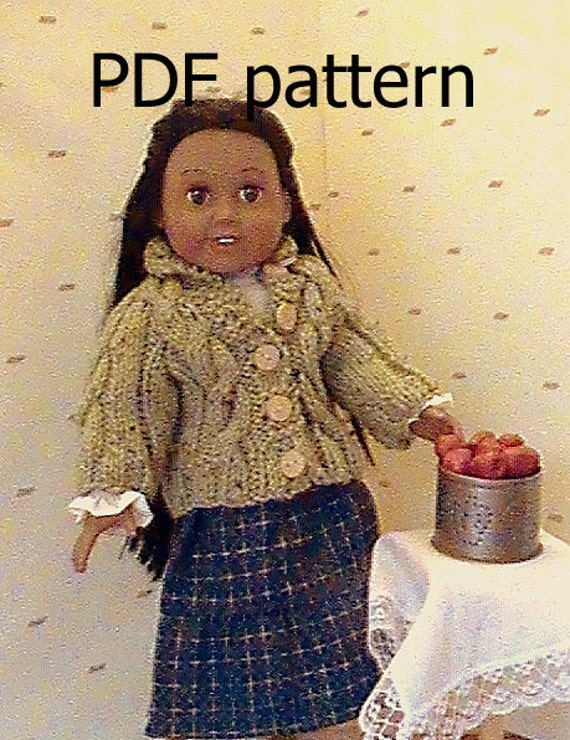 """012 Knit Pattern for 18"""" doll frosty green cable cardigan"""