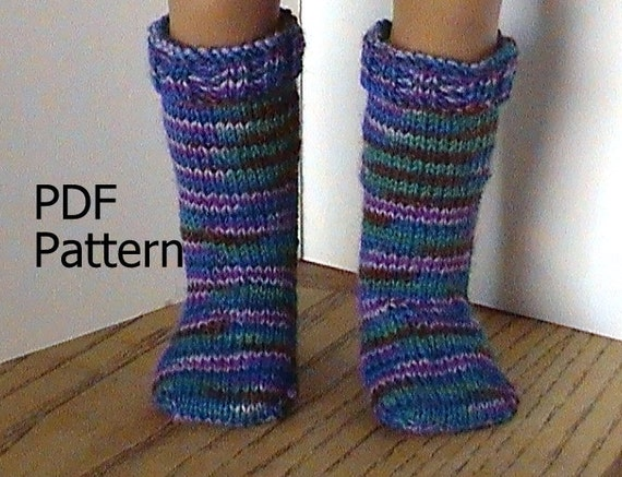 Knitting Pattern Doll Socks : 026 Knit knee-high socks from the toe up pattern for American