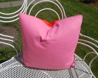 VIBRANT SHERBET/ORANGE Lumbar Pillow Cover W/Indoor-Outdoor duck canvas Fabric