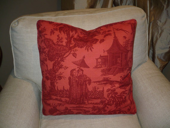 BRUNSCHWIG and FILS Asian Toile Pillow Cover