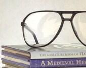 Black Aviator 80s Mens Eyeglasses Vintage New Old Stock Frames for a wide face