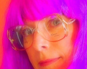 Womens Funky Eyeglasses, Salmon Pink, Lavender Purple, and Gold Frames, Big Vintage Glasses