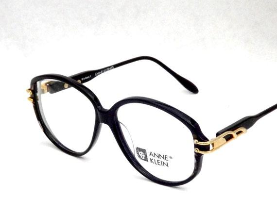 Vintage Designer Anne Klein Eyewear - Black Eyeglasses - Womens Round 80s Frames