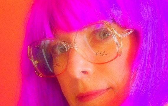 Womens Designer Eyeglasses, Funky 80s, Salmon Pink and Gold Frames, Vintage Eyewear, Oversized