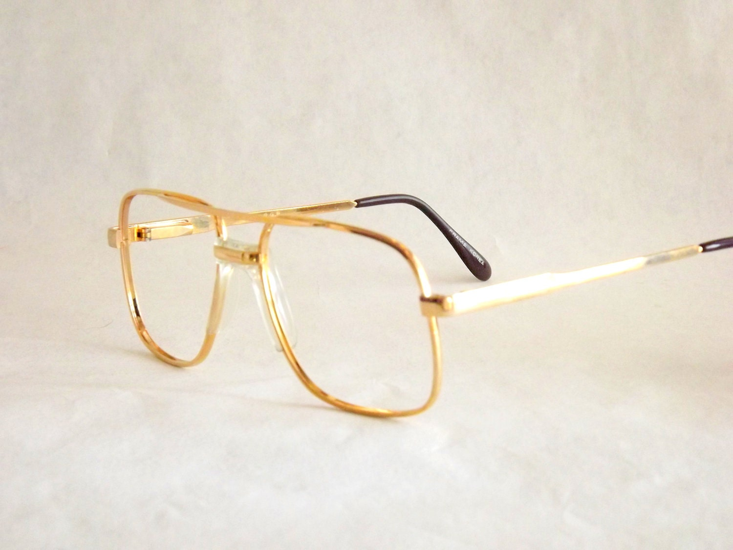 Gold Metal Glasses Frames : Industrial Metal Mens Gold Aviator Eyeglasses / Fixed Bridge