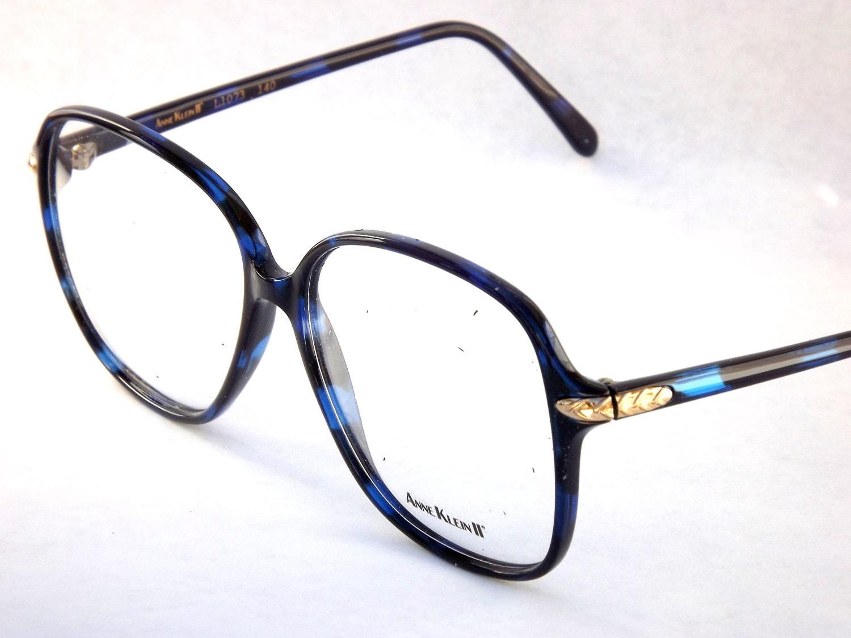 Big Blue Glasses Frames : Big Square Vintage Eyeglasses Designer Anne Klein 1980s