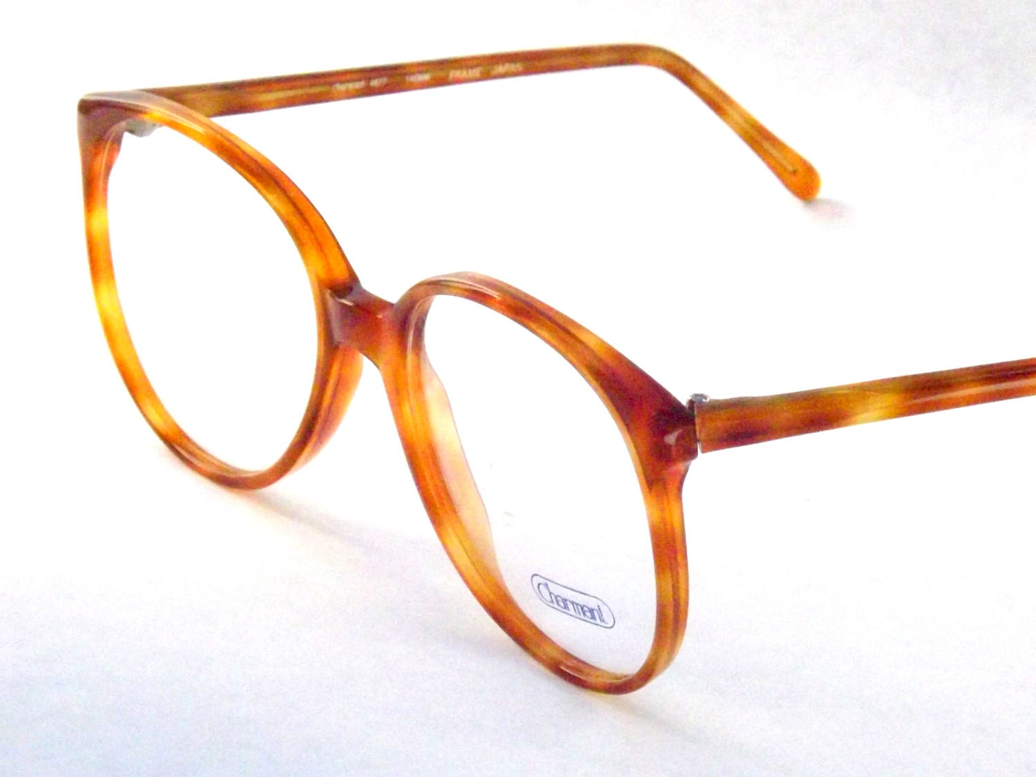 Big Circle Frame Glasses : Big Preppy Light Brown Tortoise Shell Eyeglasses Vintage