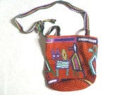 Vintage Red IKAT BUCKET Bag Cross Body HANDWOVEN