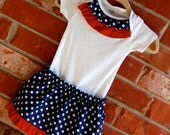 Baby and Toddler Girl Blue and Red Fourth of July Skirt and Onesie Set - Fourth of July, Fireworks, Sibling Set
