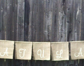 Wedding hanging deocr - 'Congratulations' Garlands Banner - hanging burlap signage