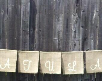 Wedding hanging decor - 'Congratulations' Garlands Banner - hanging burlap signage