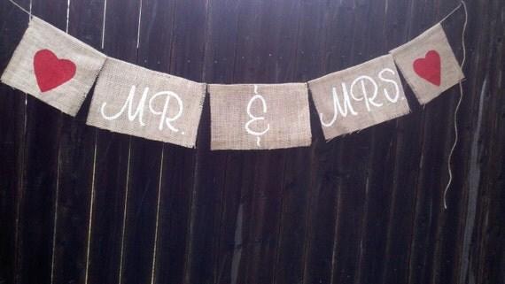 Rustic country Wedding hanging Decor - 'Mr & Mrs' Wedding Burlap Banners -Rustic Wedding hanging burlap signage, Barn wedding, shabby chic