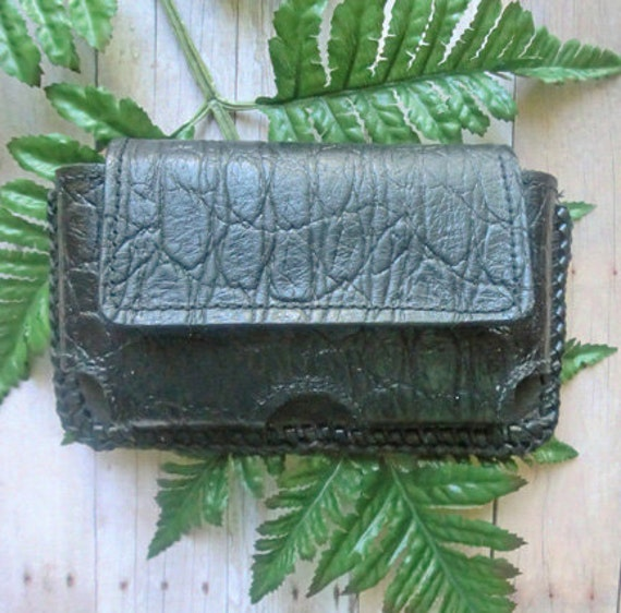 Genuine all leather black alligator print hand laced iPhone Smartphone belt case E12