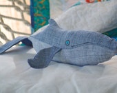 Whale toy plush, handmade small humpback whale baby created out of repurposed vintage denim & royal blue satin