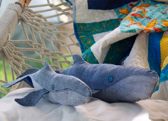Realistic Humpback whale Mama & Baby, handmade plush whales created out of repurposed vintage denim