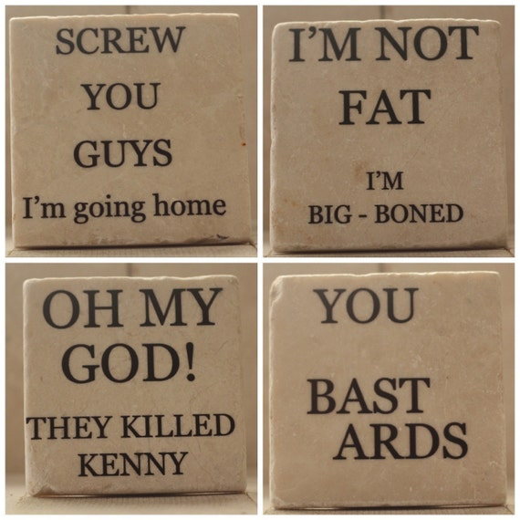 Marble Coaster Set With Quotes From South Park