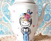 hand painted flower girl - tea / coffee pot